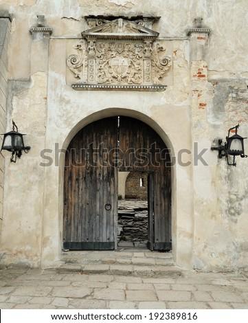 Entrance to the Olesko Castle. Fortress in Olesko. Ukraine - stock photo