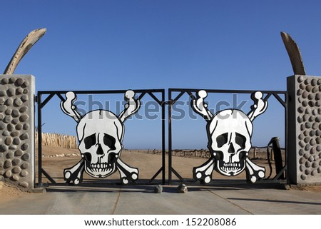 Entrance to the Skeleton Coast National Park in the Namib-Naukluft Desert in Namibia - stock photo