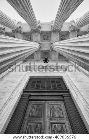 Entrance to U.S. Supreme Court  - stock photo