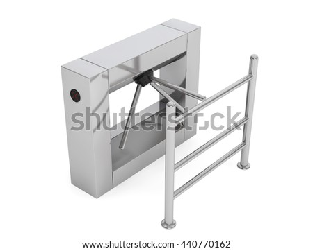 Entrance Tripod Turnstile on a white background. 3d Rendering