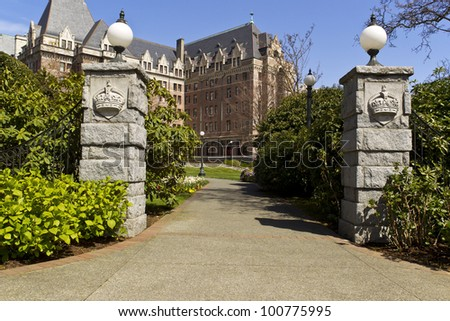 Entrance way to capital building of Victoria Canada with blue sky in background