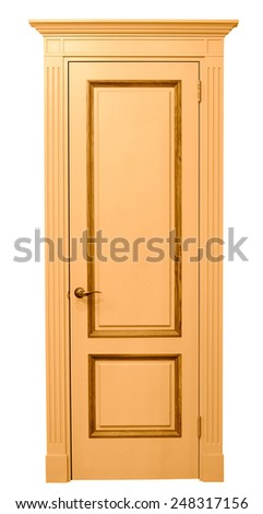 Entrance wooden door on a white background. - stock photo