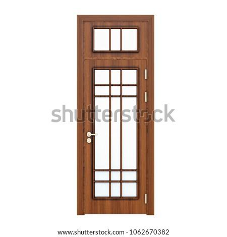 Entrance Wooden Door Singleleaf Square Win Stock Illustration