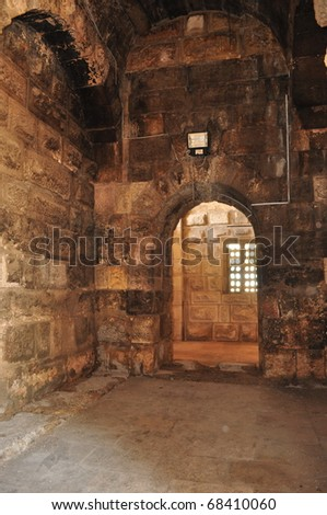 Entrances to the Auditorium in Roman ruins in Jordan - stock photo