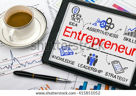 entrepreneur concept with business elements drawn on tablet pc