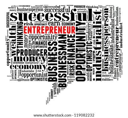 Entrepreneur info-text graphic and arrangement concept on white background (word cloud)