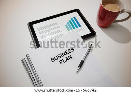 Entrepreneurial business plan preparation. - stock photo