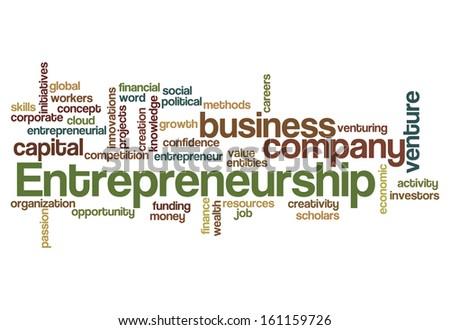entrepreneurship word cloud concept isolated on white - stock photo