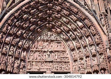 Entry of the cathedral of Strasbourg/France - stock photo