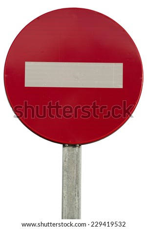 entry prohibited sign isolated on white background - stock photo