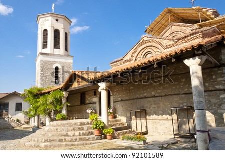 Entry to Sv. Bogorodica church in Ohrid UNESCO town - Macedonia.