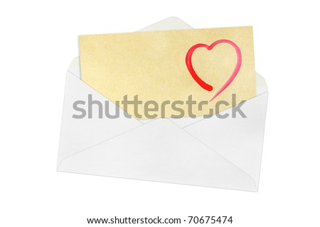 envelope and heart on a white background. - stock photo