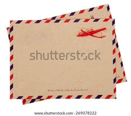 Envelope brown-gray wood par avion retro vintage isolated on white background - stock photo