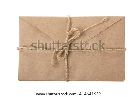 envelope for letters tied up with rope on white isolated background - stock photo