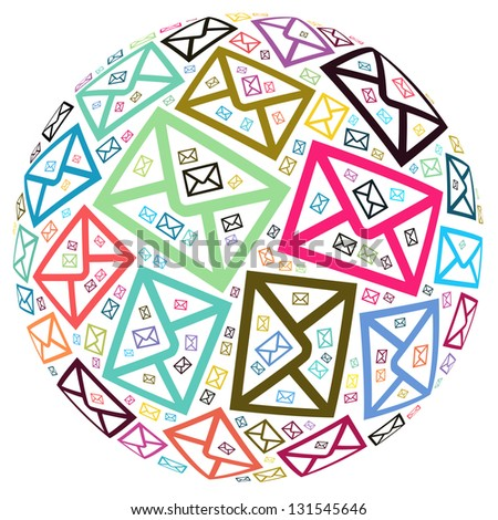 Envelope icon composed in the sphere shape  with Isolated white background - stock photo