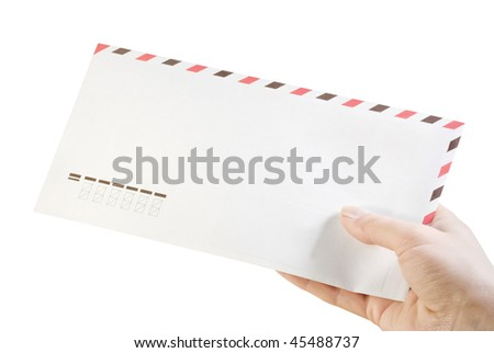 envelope in his hand isolated on white - stock photo