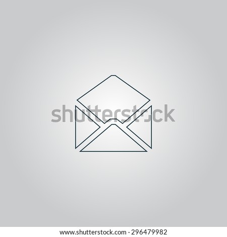 Envelope Mail. Flat web icon, sign or button isolated on grey background. Collection modern trend concept design style  illustration symbol - stock photo