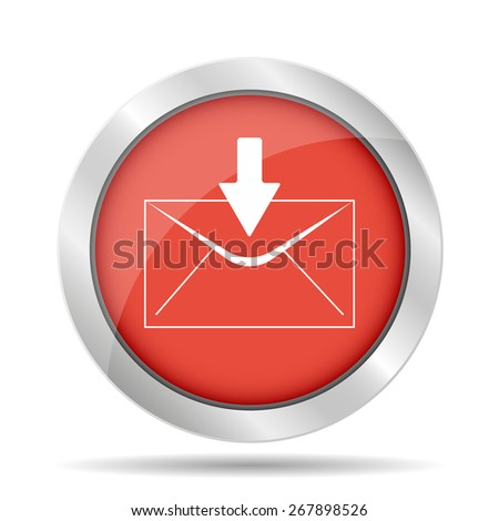 envelope mail symbol on red background.  - stock photo