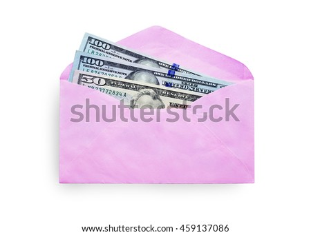 Envelope pink gift bag for the money in the Chinese New Year isolated on white background. this has clipping path.