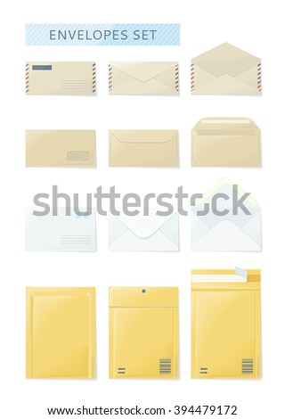 Envelope set open and close design flat. Envelope and letter, envelope icon, mail and open envelope, envelope template, white envelope, invitation envelope, open or close envelope illustration - stock photo