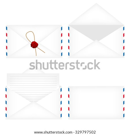 Envelope set- white opened envelope, closed envelope with stamp, white closed envelope and envelope with blank letter - stock photo