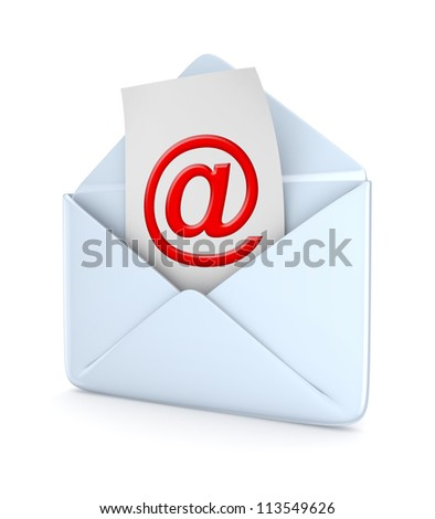 Envelope with a red AT symbol.Isolated on white background.3d rendered.