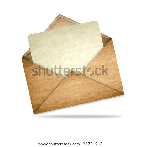 Envelope with blank paper - stock photo