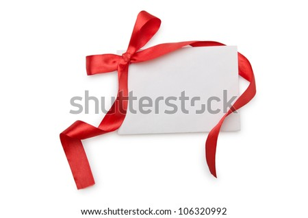 Envelope with colourful ribbon on white - stock photo
