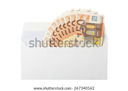 envelope with fifty-euro banknotes isolated on white - stock photo