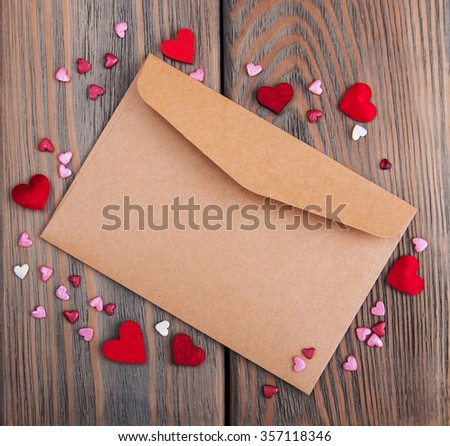 Envelope with hearts- valentines holiday background