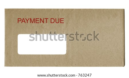 envelope with payment due in red letters