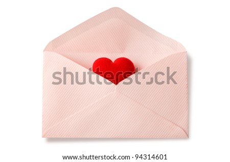 Envelope with red heart for valentine day on white background - stock photo