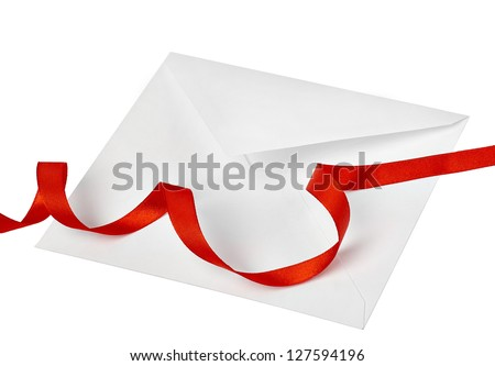 Envelope with red ribbons and stamp isolated on white
