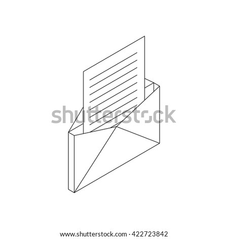 Envelope with sheet of paper icon - stock photo