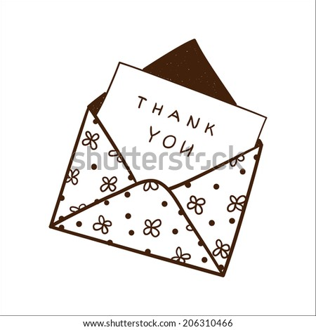Envelope with thanksgiving text.  - stock photo