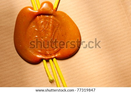 Envelope with wax seal - stock photo