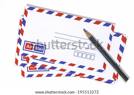 Envelopes and pencil on white background.