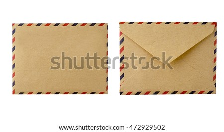 envelopes and photo frame isolated, on white background