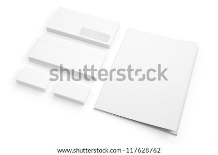 Envelopes Business card folder isolated on white - stock photo