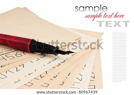envelopes for letters and pen isolated on white background