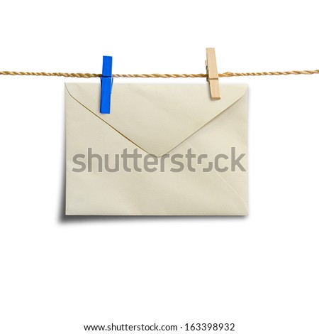 envelopes hanging on a clothesline  - stock photo