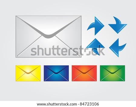 Envelopes, multiple colors, raster - stock photo