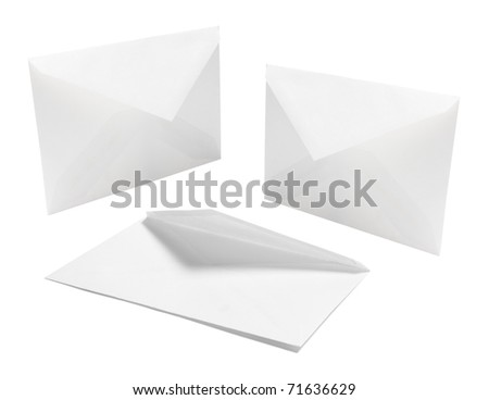 Envelopes on Isolated White Background - stock photo