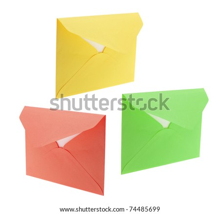 Envelopes on Isolated White Background - stock photo