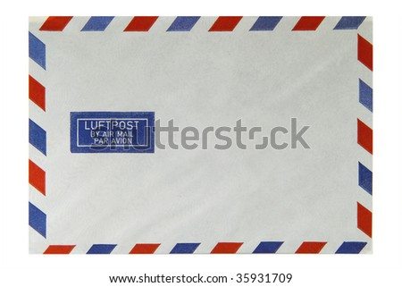 Envelopes with the words air mail in different languages - stock photo