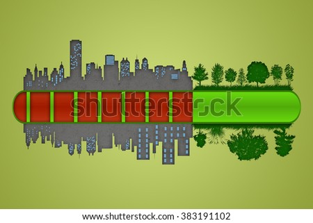 Environment and ecology concept. Loading bar of city urbanization and pollution against green nature. - stock photo