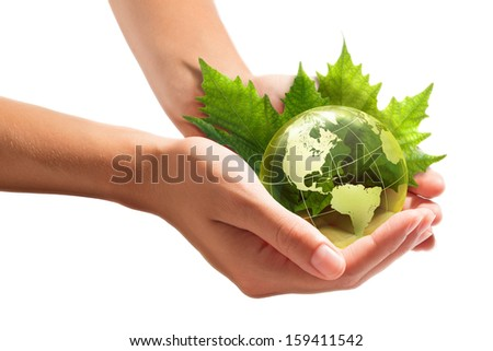 environment conservation in your hands - usa  - stock photo