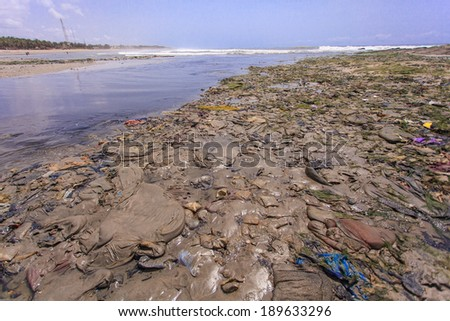 Environment in Teshie beach, fisherman village in Ghana - stock photo