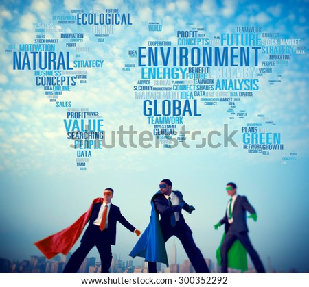 Environment Natural Sustainability Global World Map Concept - stock photo