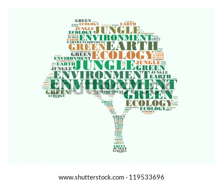 environment text collage Composed in the shape of tree an isolated on white